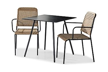 TAHITI Caféset 75x75 Svart + 2 Stolar Beige