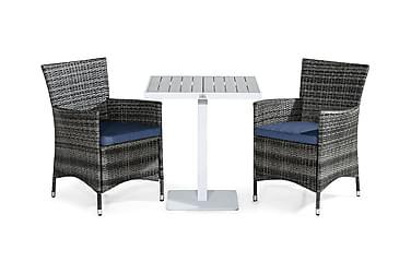 TUNIS Cafébord 70x70 Vit/Grå + 2 THOR Fåtölj Grå m Dyna Blå