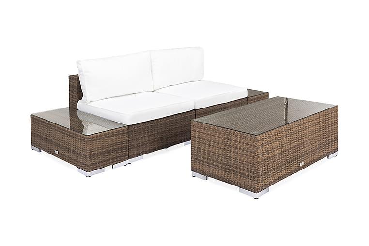 BAHAMAS Loungesoffa 2-sits + Bord 113 + 2 Sidobord Sand - Utemöbler - Utemöbelgrupper - Loungemöbler