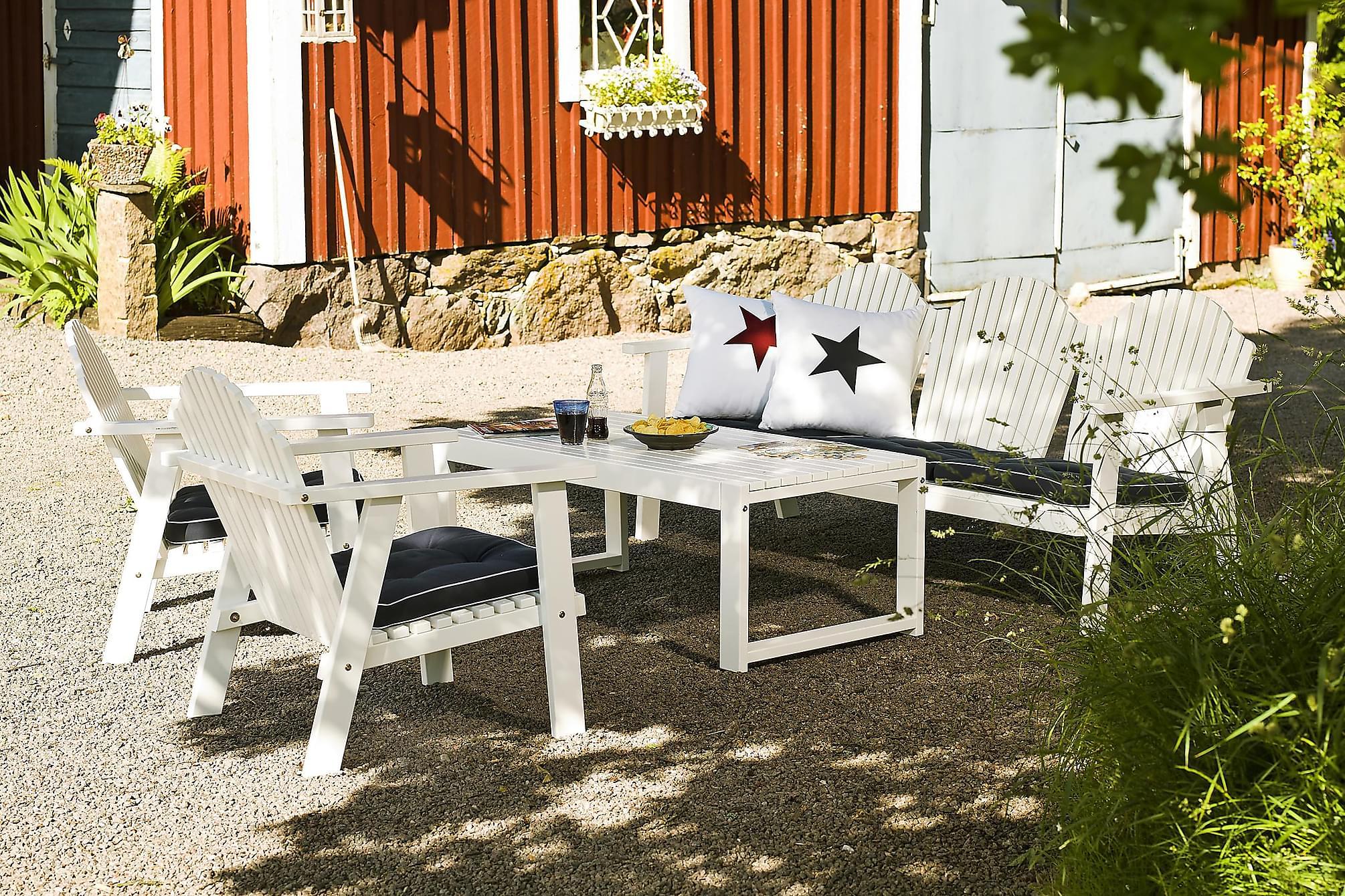 HILLERSTORP GOTLAND Bord + BULLERÖ Soffa + 2 Fåtöljer Vit