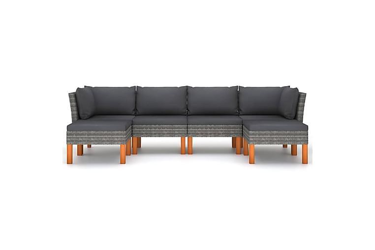 Loungegrupp för trädgården 6 delar med dynor konstrotting - Grå - Utemöbler - Utemöbelgrupper - Loungemöbler