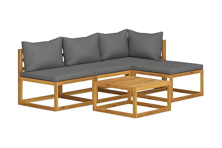 Loungegrupp för trädgården m. dynor 5 delar akaciaträ - Grå - Utemöbler - Utemöbelgrupper - Loungemöbler
