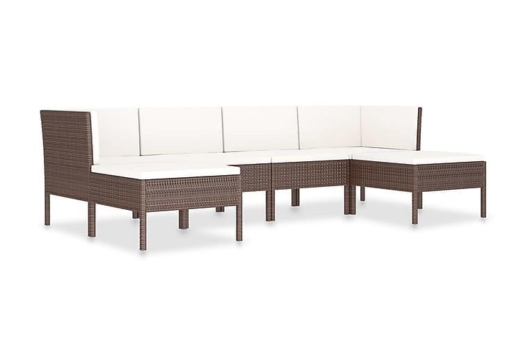 Loungegrupp för trädgården m. dynor 6 delar konstrotting - Brun - Utemöbler - Utemöbelgrupper - Loungemöbler