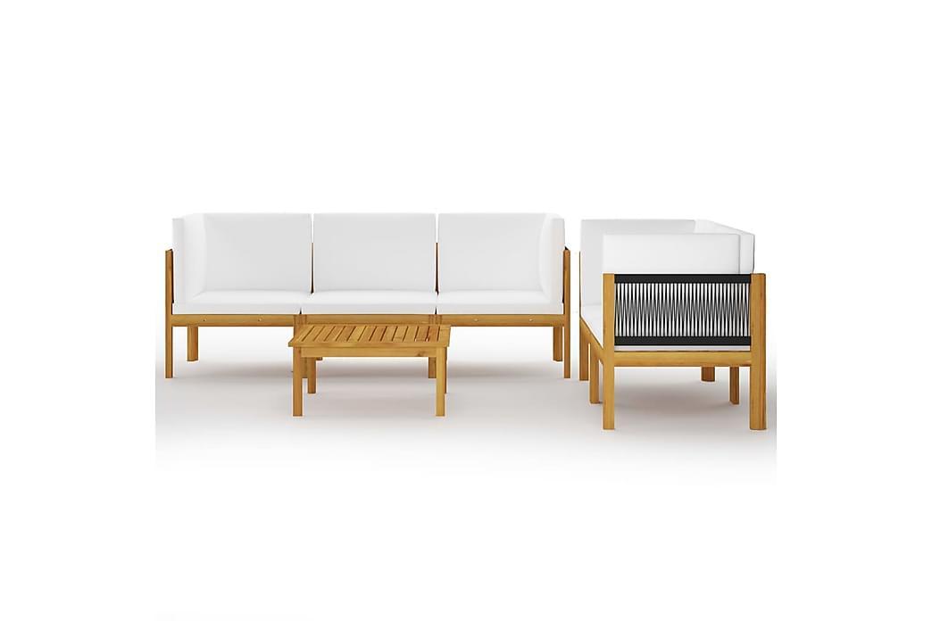 Loungegrupp för trädgården med dynor 6 delar akaciaträ - Brun - Utemöbler - Utemöbelgrupper - Loungemöbler