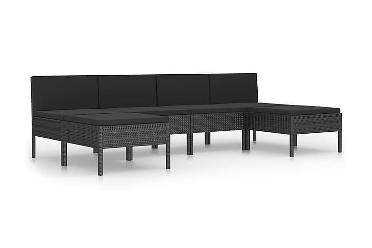 Loungegrupp för trädgården med dynor 6 delar konstrotting - Svart - Utemöbler - Utemöbelgrupper - Loungemöbler