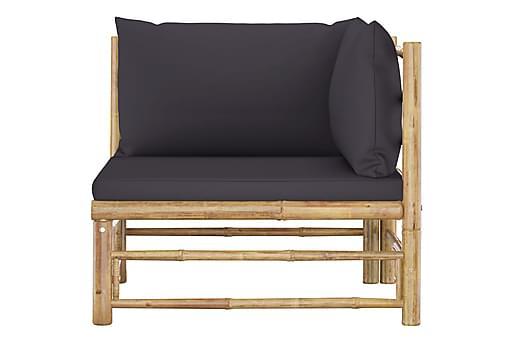 Loungegrupp för trädgården med mörkgrå dynor 2 delar bambu, Loungemöbler