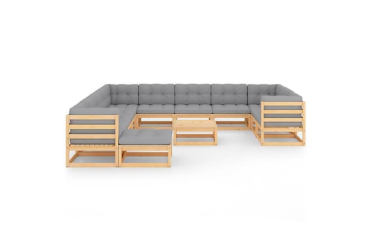 Loungegrupp med dynor 13 delar massiv furu - Brun - Utemöbler - Utemöbelgrupper - Loungemöbler