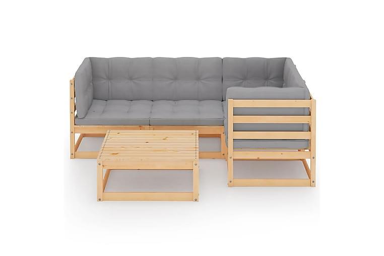 Loungegrupp med dynor 5 delar massiv furu - Brun - Utemöbler - Utemöbelgrupper - Loungemöbler