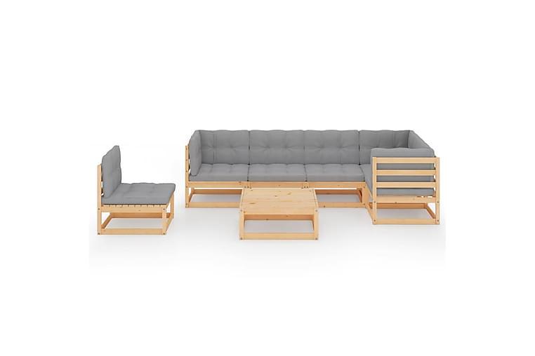 Loungegrupp med dynor 7 delar massiv furu - Brun - Utemöbler - Utemöbelgrupper - Loungemöbler