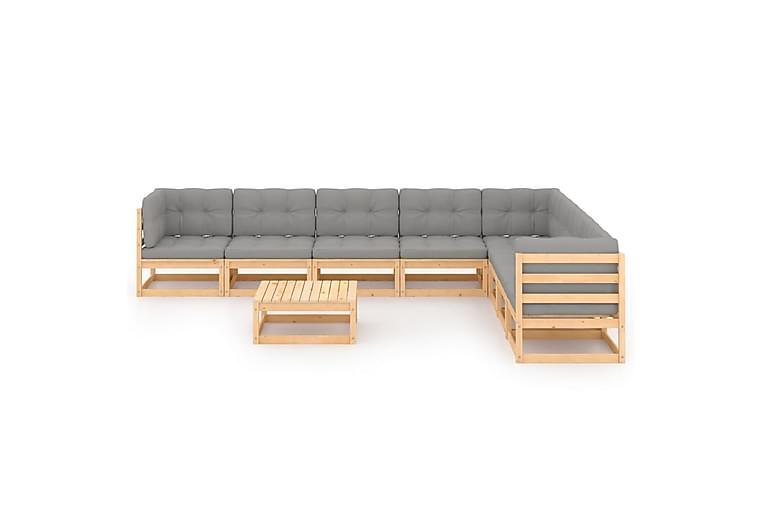 Loungegrupp med dynor 9 delar massiv furu - Brun - Utemöbler - Utemöbelgrupper - Loungemöbler