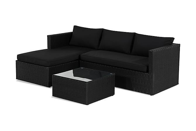 MENDOZA Soffgrupp Svart/Mörkgrå - Utemöbler - Utemöbelgrupper - Loungemöbler