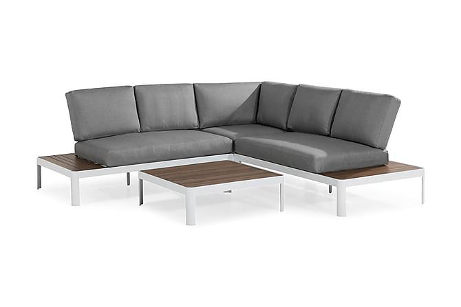 NOHA Loungegrupp Vit/Ljusgrå/Trälook - Utemöbler - Balkongmöbler - Balkongsoffor