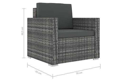 Soffgrupp för trädgården 13 delar med dynor konstrotting grå, Loungemöbler