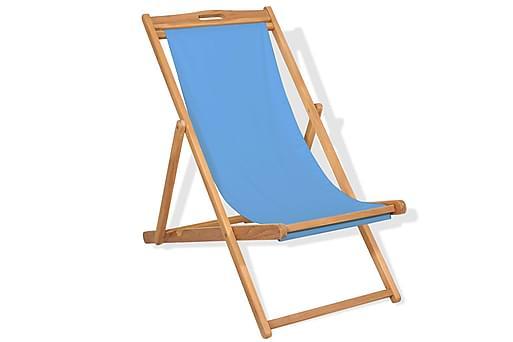 Strandstol teakträ 56x105x96 cm blå, Loungemöbler