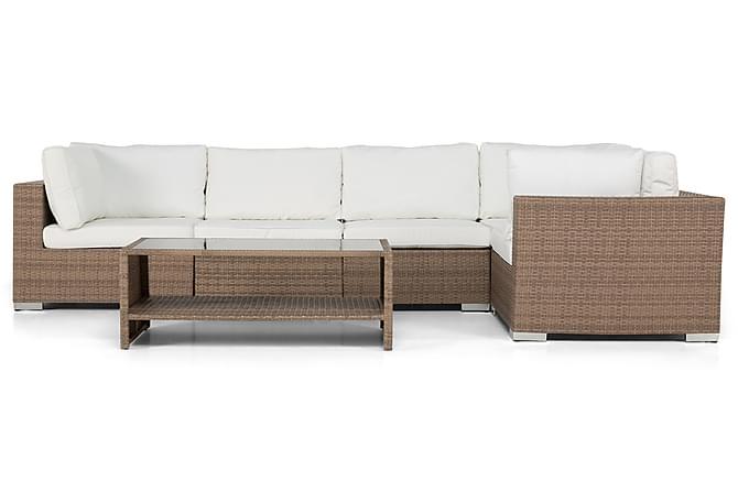 BAHAMAS Loungegrupp Medium + Bord Hylla Sand - Utemöbler - Utemöbelgrupper - Loungemöbler