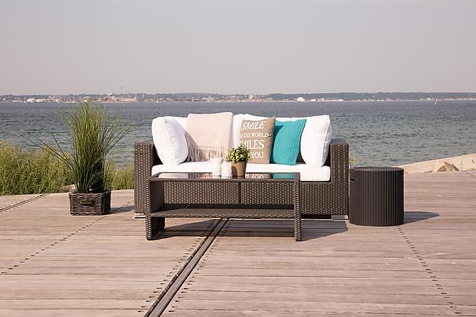 BAHAMAS Loungesoffa 2-sits + Bord Hylla Svart - Utemöbler - Utemöbelgrupper - Loungemöbler