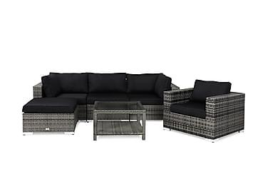 BAHAMAS Loungesoffa 3-sits + Bord 75 + Divan + Fåtölj Grå
