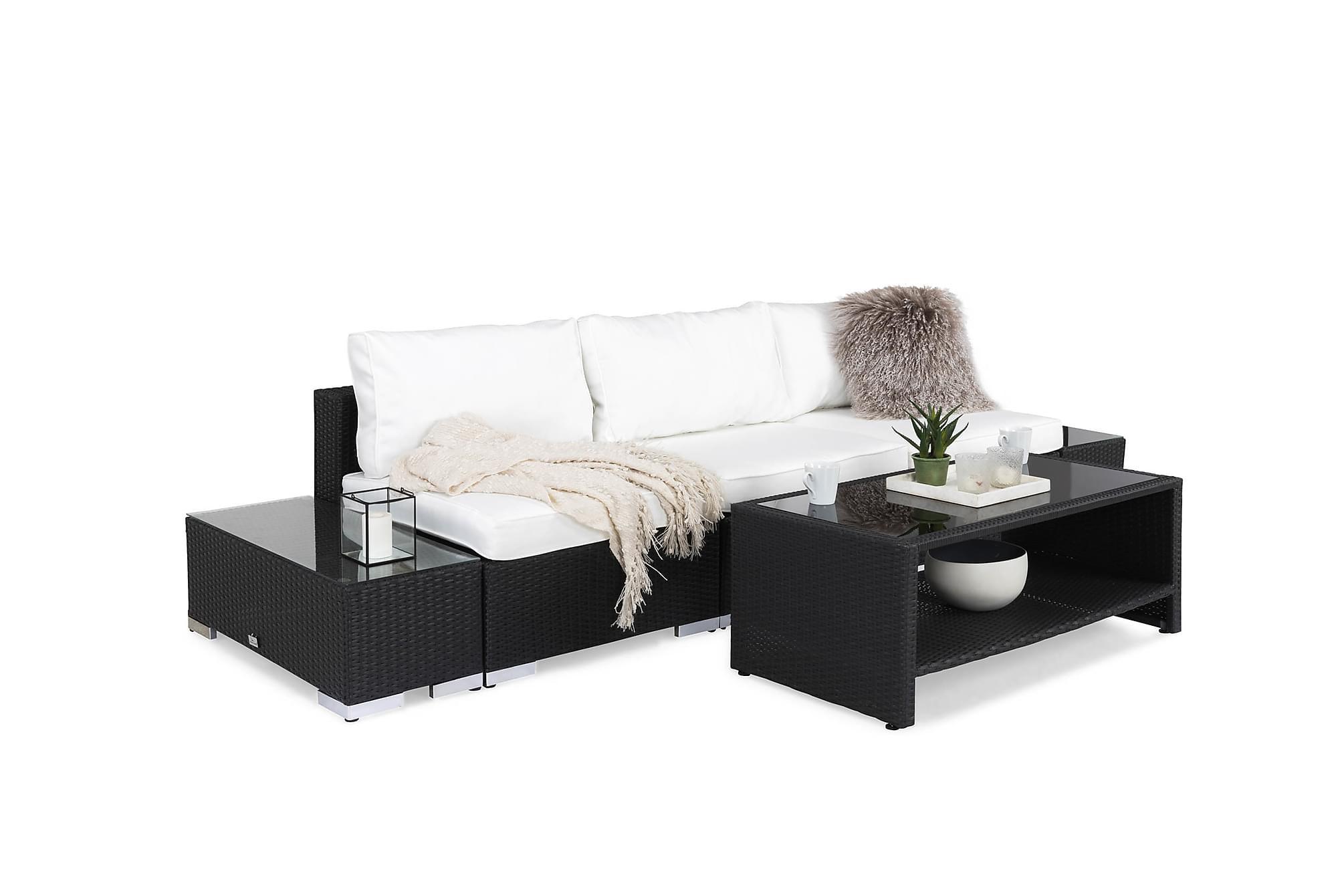 BAHAMAS Loungesoffa 3-sits + Bord Hylla + 2 Sidobord Svart