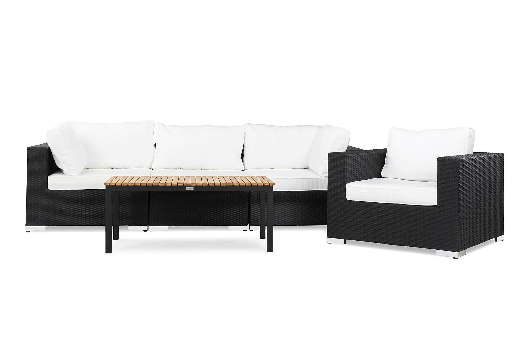 BAHAMAS Loungesoffa 3-sits + Bord Svart/Teak + Fåtölj Svart