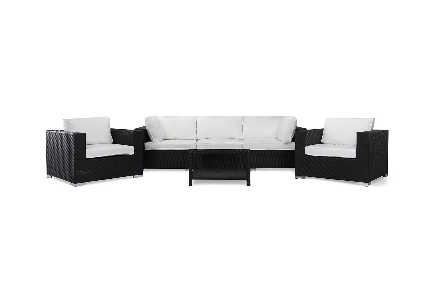 DOMINICA Loungesoffa 3-Sits + Bord 75 + 2 Fåtöljer Svart -