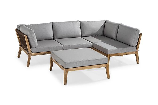 KOBRA Loungegrupp Akacia + Bord/Divan Grå - Utemöbler - Utemöbelgrupper - Loungemöbler