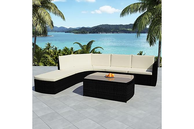 Loungegrupp för trädgården med dynor 4 delar konstrotting - Svart - Utemöbler - Utemöbelgrupper - Loungemöbler