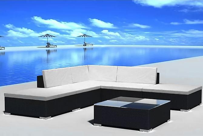 Loungegrupp för trädgården med dynor 6 delar konstrotting - Svart|Vit - Utemöbler - Utemöbelgrupper - Loungemöbler