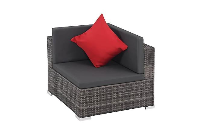 Loungegrupp för trädgården med dynor 8 delar konstrotting - Grå|Mörkgrå|Röd - Utemöbler - Utemöbelgrupper - Loungemöbler