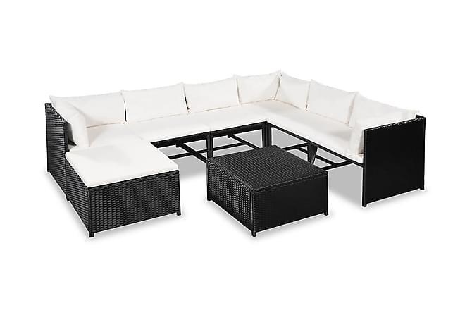 Loungegrupp för trädgården med dynor 8 delar konstrotting - Svart - Utemöbler - Utemöbelgrupper - Loungemöbler