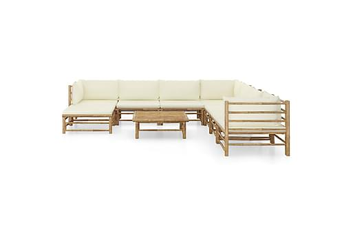 Loungegrupp för trädgården med gräddvita dynor 9 delar bambu, Loungemöbler