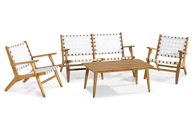 PANDA Loungegrupp 3-sits Bord Fåtölj Vit/Akacia - Utemöbler - Utemöbelgrupper - Loungemöbler