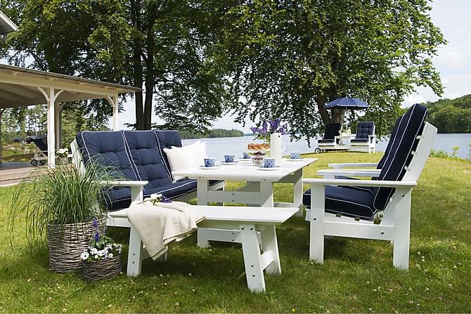HILLERSTORP HERRGÅRD Bord+Soffa+2 Fåtöljer+BULLERÖ Bänk Vit - Utemöbler - Utebord - Matgrupper utomhus