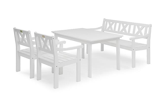 HILLERSTORP LÄCKÖ Bord 80x135 + 2 Fåtöljer + Soffa Vit - Utemöbler - Utebord - Matgrupper utomhus