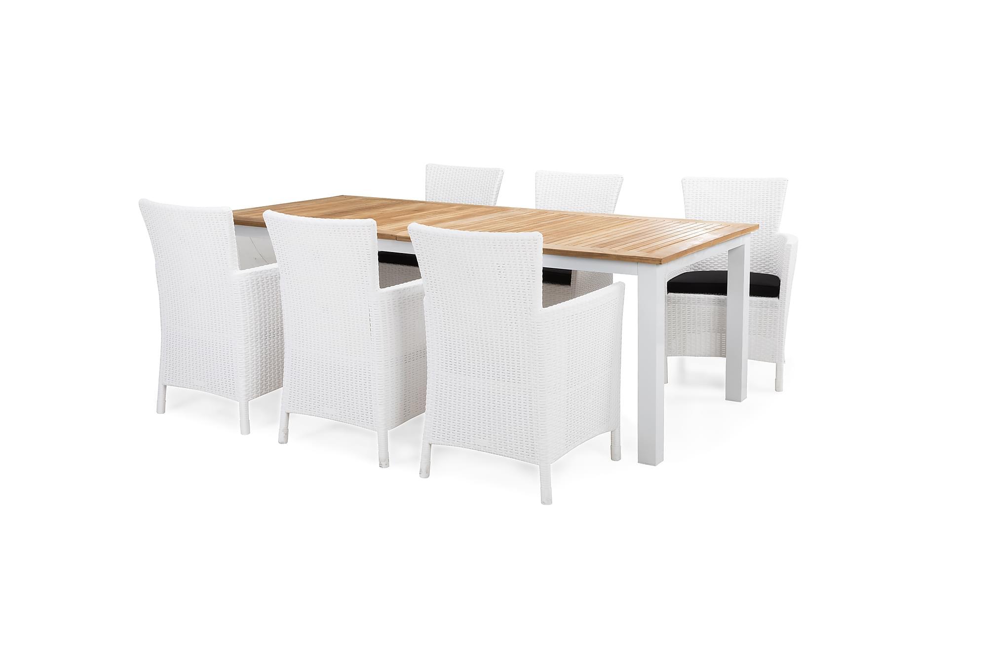 Redding bord 220 + 6 yorkton fåtölj vit/teak + dyna svart