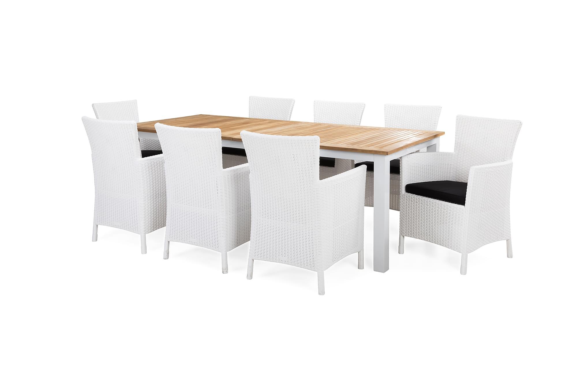 Redding bord 220 + 8 yorkton fåtölj vit/teak + dyna svart