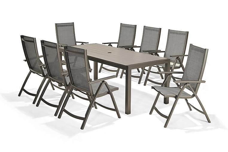 SOLANA Matbord 201 cm Grå + 8 Positionsstolar - Utemöbler - Utebord - Matgrupper utomhus