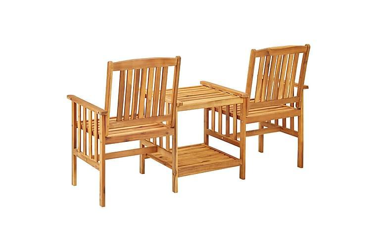 Trädgårdsstolar med bord och dynor massivt akaciaträ - Brun - Utemöbler - Utebord - Matgrupper utomhus