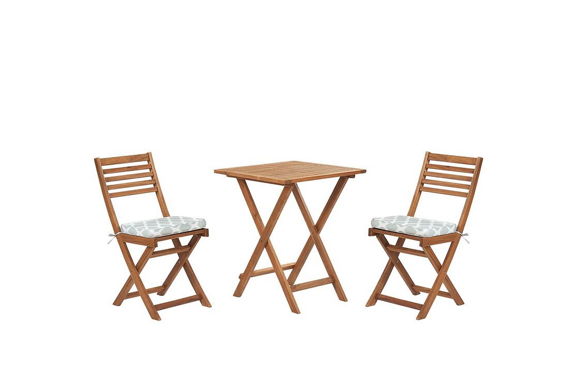 Balkongset av bord och 2 stolar brun/mintgrön FIJI, Utemöbelgrupper