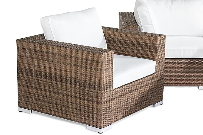 BAHAMAS Loungegrupp 5-sits Bord 2 Fåtöljer Sand - Utemöbler - Utemöbelgrupper - Loungemöbler