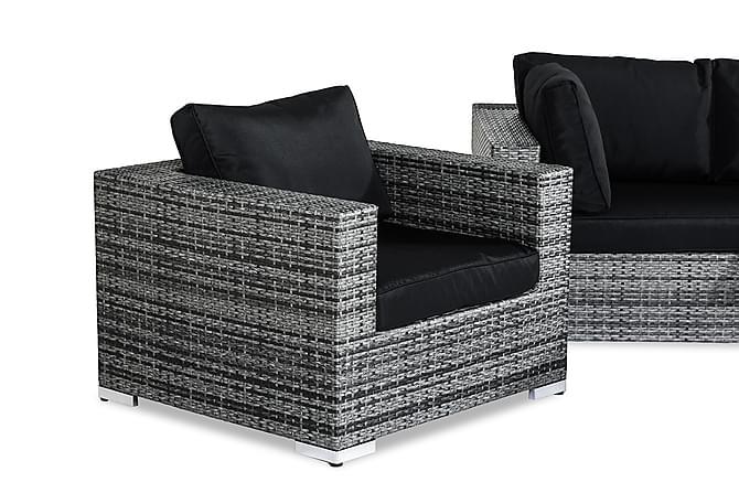 BAHAMAS Loungegrupp 6-sits Bord 2 Fåtöljer Grå - Utemöbler - Utemöbelgrupper - Loungemöbler