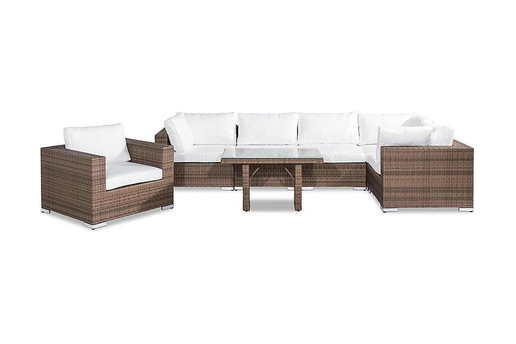 BAHAMAS Loungegrupp 6-sits Bord Fåtölj Sand - Utemöbler - Utemöbelgrupper - Loungemöbler