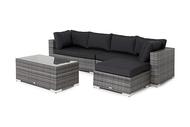 BAHAMAS Loungegrupp Large + Bord + Divan Grå - Utemöbler - Utemöbelgrupper - Loungemöbler