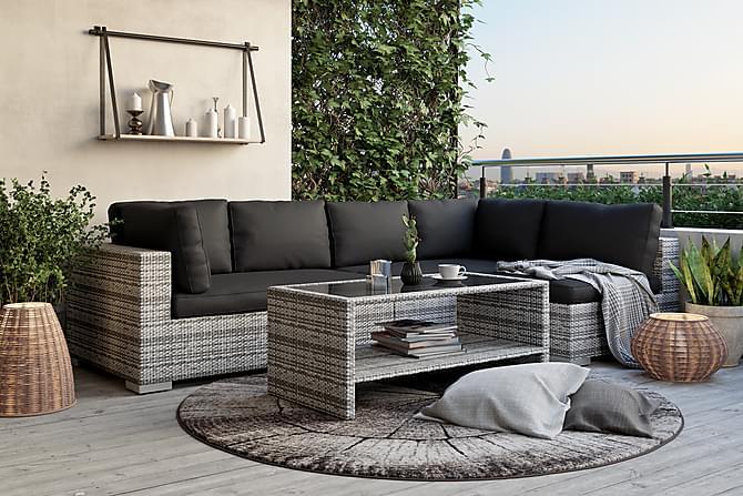 BAHAMAS Loungegrupp Medium + Bord Hylla Grå - Utemöbler - Utemöbelgrupper - Loungemöbler