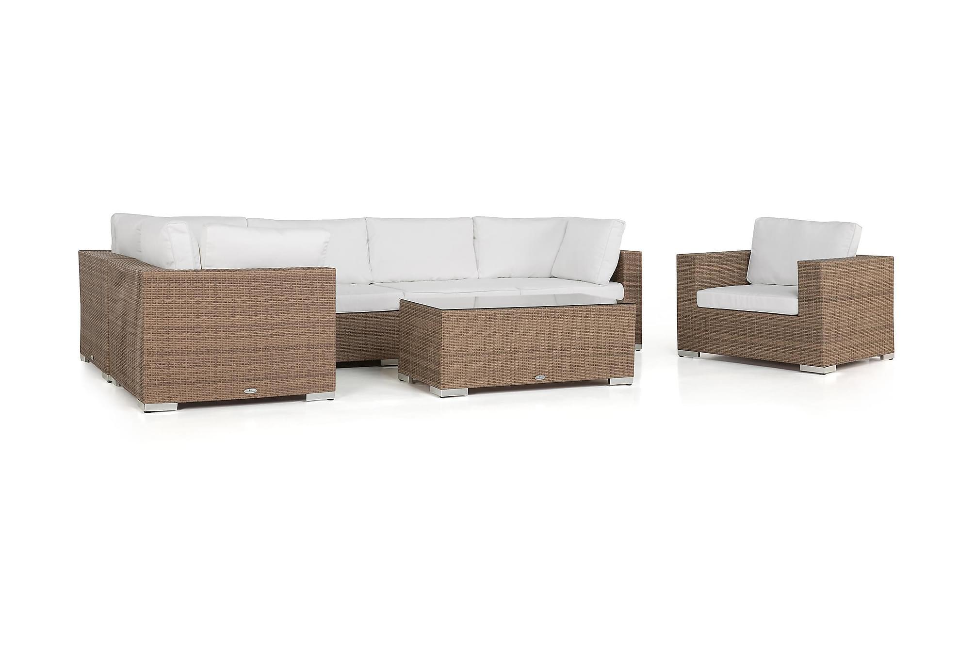BAHAMAS Loungegrupp Small + Bord + Fåtölj Sand