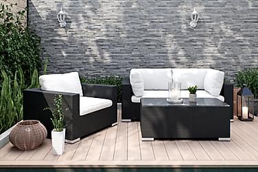 BAHAMAS Loungesoffa 2-sits + Bord 113 + Fåtölj Svart