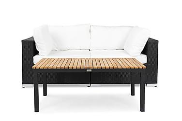 BAHAMAS Loungesoffa 2-sits + Bord Svart/Teak Svart