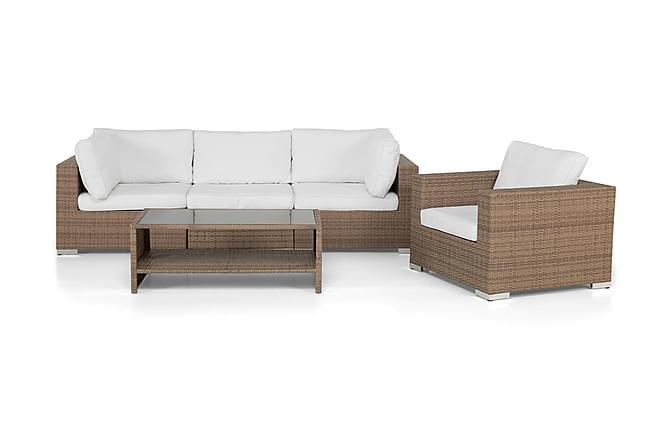 BAHAMAS Loungesoffa 3-sits + Bord Hylla + Fåtölj Sand - Utemöbler - Utemöbelgrupper - Loungemöbler