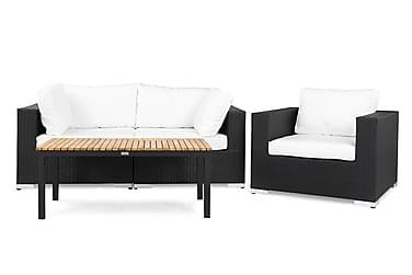 BAHAMAS Loungesoffa 3-sits + Bord Svart/Teak Svart
