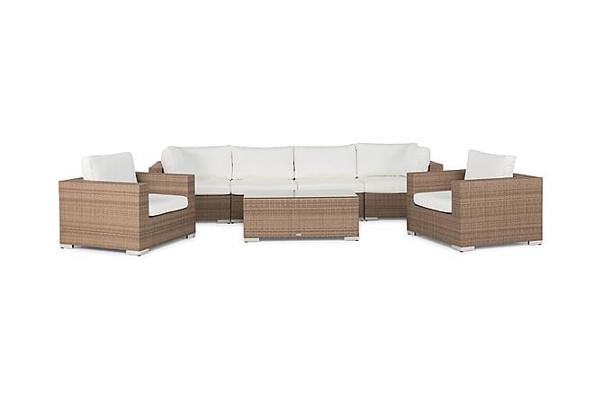 BAHAMAS Loungesoffa 4-sits + Bord + 2 Fåtöljer Sand - Utemöbler - Utemöbelgrupper - Loungemöbler