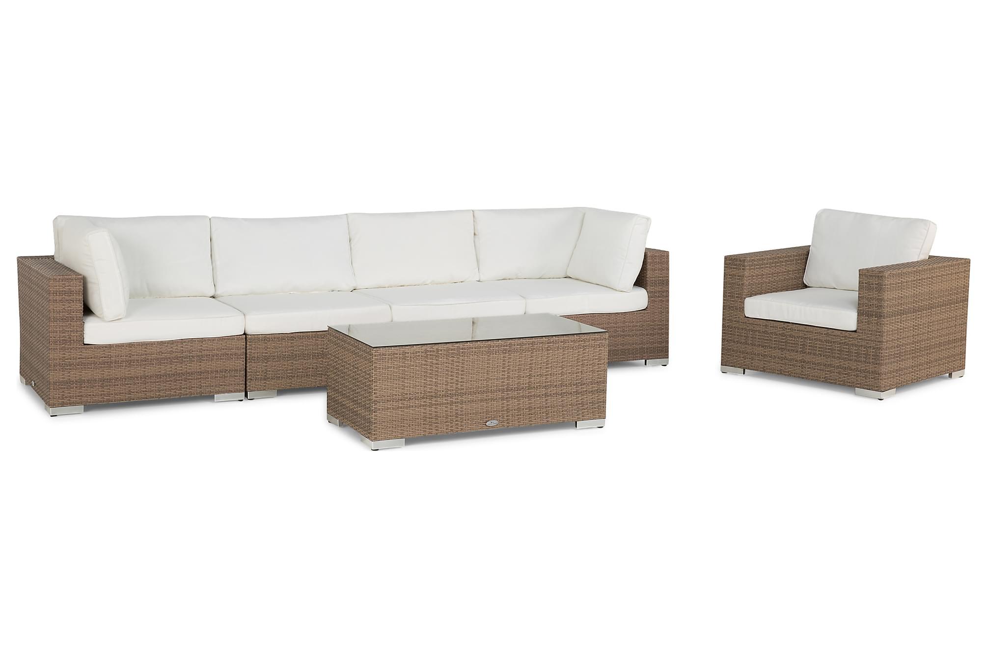 BAHAMAS Loungesoffa 4-sits + Bord + Fåtölj Sand